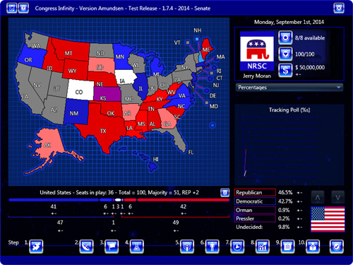 Congress Infinity, Main Map and Projected Senate Seat Totals